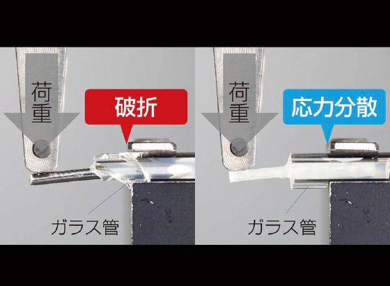 図1 ガラス管を歯根と見立て、左が既製金属ポスト、右がグラスファイバーポストを使用した時のイメージ。左はガラス管(=歯根)の破折が認められる(サンメディカル提供)。