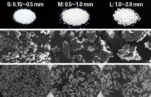 顆粒間に存在する顆粒の大きさに準じた幅の隙間の写真